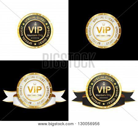black and white vip badge with ribbon