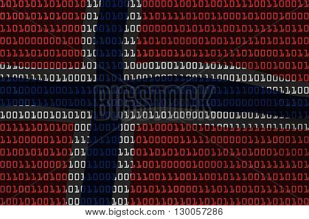 Norwegian Technology Concept - Flag Of Norway In Binary Code - 3D Illustration