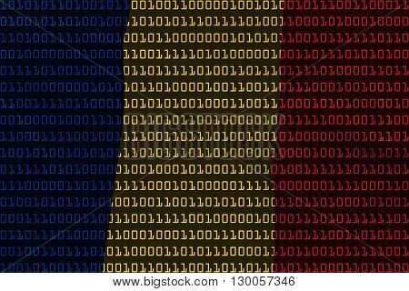Romanian Technology Concept - Flag Of Romania In Binary Code - 3D Illustration