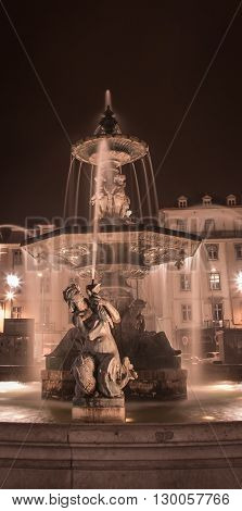 The fountain at rossio square in Lisbon Portugal