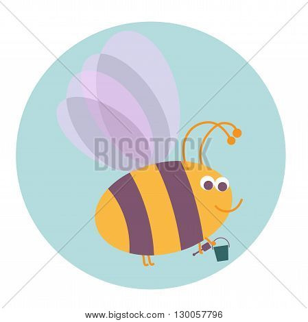 Cute smiling bumble bee with pail and shovel on a blue dackground