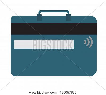 Credit card and luggage concept in flat design style. Vector illustraton. Text can be added