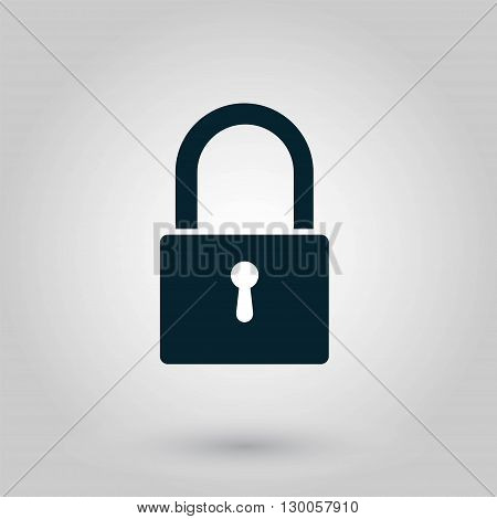 Lock icon on a grey backgroung. Vector illustration