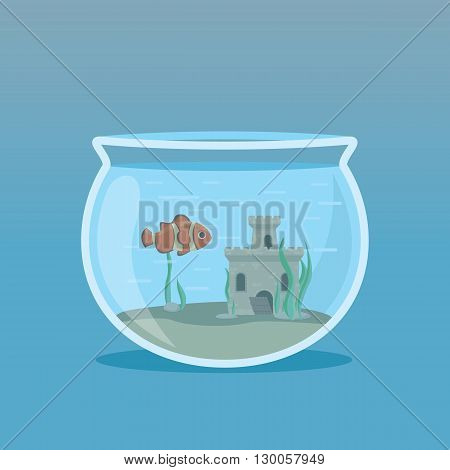 Clown Fish in an aquarium with algae and castles underwater. Vector illustrations.