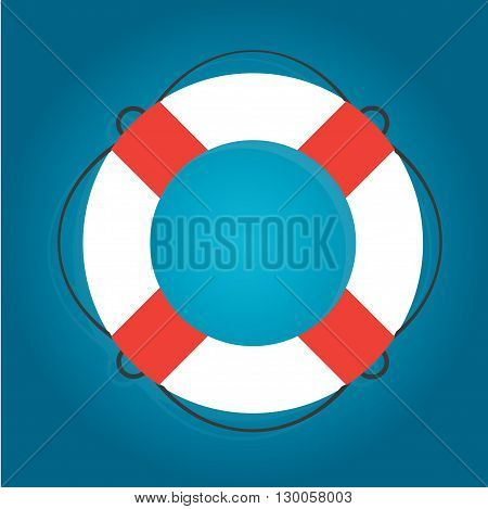 White lifebuoy with red stripes on gradient blue background. Vector illustration