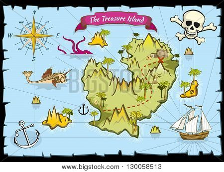 Vector pirate treasure color map. Pirate map and adventure sea, explore map with treasure illustration