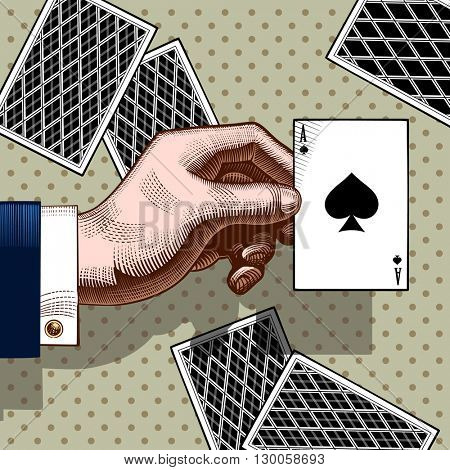 Hand with the ace of Spades playing card. Vintage color engraving stylized drawing. Vector illustration