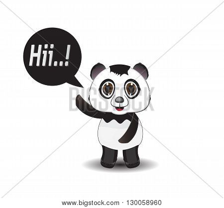 cartoon illustration panda smile and say hi