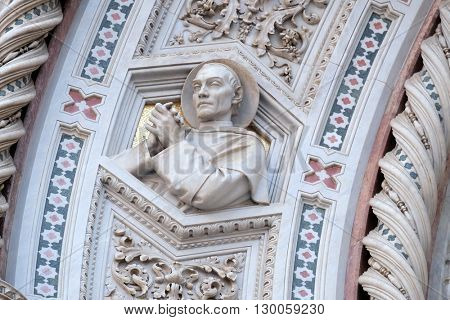 FLORENCE, ITALY - JUNE 05:  Florentine Saints, Portal of Cattedrale di Santa Maria del Fiore (Cathedral of Saint Mary of the Flower), Florence, Italy on June 05, 2015