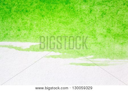 Abstract hand drawn green watercolor paints background