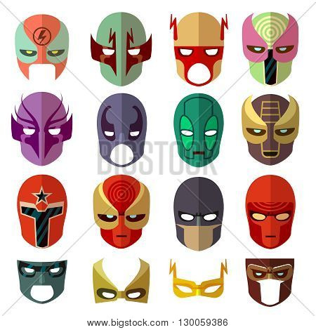 Hero mask characters vector flat icons. Hero cartoon mask and color avatar mask set illustration