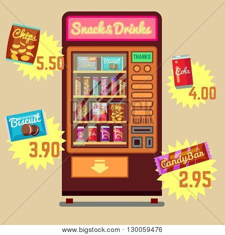 Retro vector vending machine with snacks and drinks flat icons. Food vending machine automatoc. Snack and drink vending machine illustration