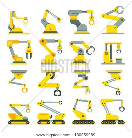 Robotic arm, hand, industrial robot flat vector icons set. Robot industry technology and machine arm robot for manufacture illustration