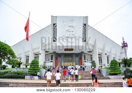 HANOI VIETNAM - JULY 30 2015 : tourists visit the Ho Chi Minh Museum in Hanoi Vietnam.