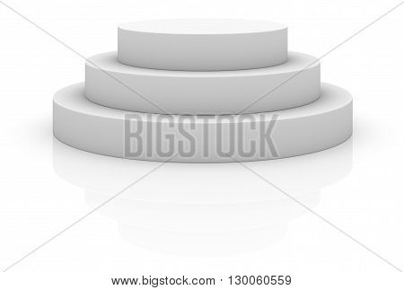 Round stage podium, pedestal isolated on white background. 3D illustration