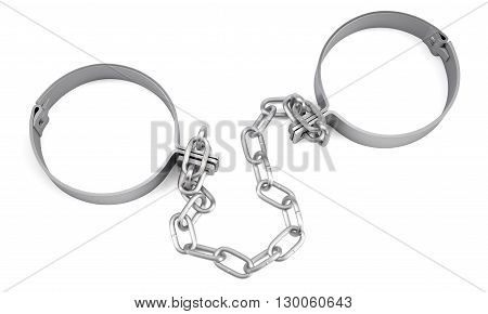 Handcuffs isolated on white background. 3D illustration