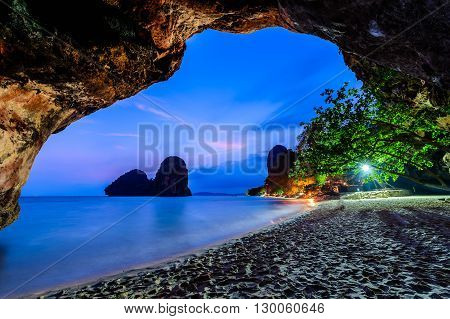 Famous Phranang cave at Raylay Railay Beach Krabi : Thailand