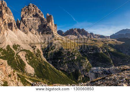 Italy Dolomites - a wonderful landscape the barren rocks