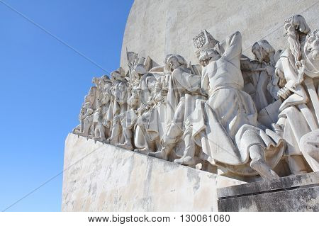 LISBON PORTUGAL 9 SEPTEMBER 2013: Padrao dos Descobrimentos - Monument to the Discoveries commemorates the Portuguese Age of Discovery in the 15th and 16th centuries. Eastern profile