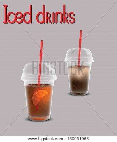 Iced drinks for your design, iced tea, iced coffee
