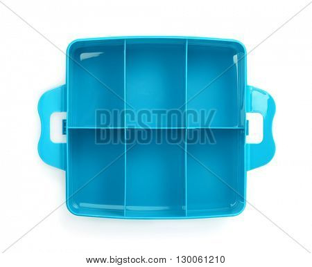 Top view of plastic storage box isolated on white