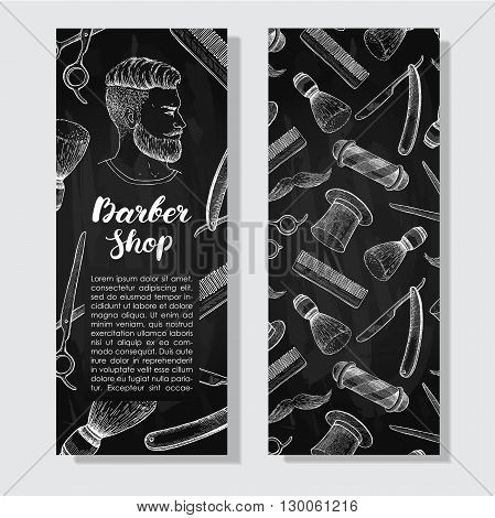 Vector vintage chalkboard hand drawn Barber Shop business flyer. Detailed illustrations. Hipster man with beard mustage scissors ribbon whisker and lettering styled text.