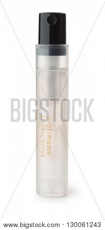 Small perfume sample bottle isolated on whte