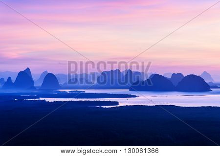 Sunrise at Samed Nangshe in Phang Nga province at Thailand