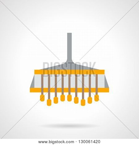 Yellow farmer plow. Plowing equipment and accessory for field tractor. Tillage technology, agricultural technics and industry. Flat color style vector icon.