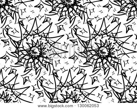 Seamless psychedelic pattern with black abstract swirl ornament on white background. Colored variations of pattern in swatch panel. Design for textile, wrapping paper, wall papers. Vector illustration