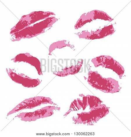 Print of volume pink lips. Set of vector illustration on a white background. Romantic illustration for a wedding print celebration holiday invitations web. EPS 10 no effects 3 colors