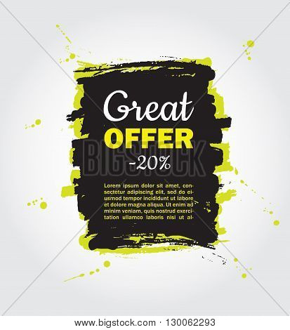 Vector Grunge splash sale banner. Black friday sale shopping tag. Grunge Black discount poster. Splashes of ink. Great for label poster banner voucher coupon business promote.