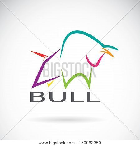 Vector image of an bull design on a white background. Logo Symbol