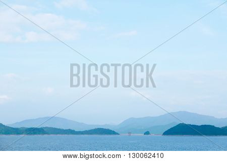 Mountain, Reservoir, Blue Sky And Cloud