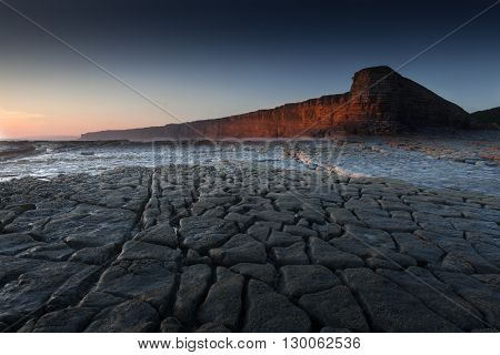 Nash Point Heritage Coastline The Heritage Coast, South Wales, which features a 'Welsh Sphinx' like cliff face