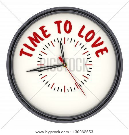 Time to love. Watches with an inscription. Analog Clock with the words