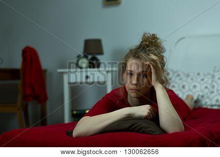 Girl In Melancholy Alone
