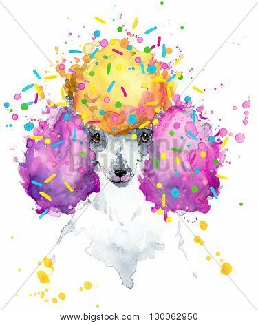 Cute Dog. Dog T-shirt graphics. watercolor Dog illustration background. watercolor funny Dog for fashion print, poster for textiles, fashion design.