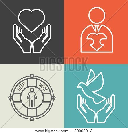 Charity, donation and volunteer concept backgrounds with vector logo line style. Charity icon, human charity help icon donate charity support illustration