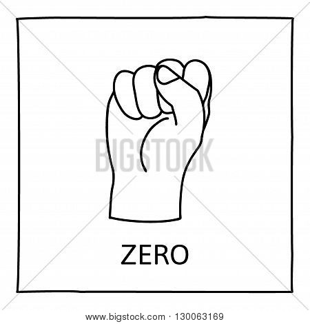 Doodle Zero or Fist icon. Hand drawn gesture symbol. Line art style graphic design element. Learn counting with fingers. Political fight, revolution concept. Vector illustration