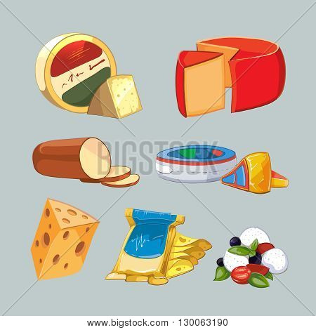 Cheese in packaging. Vector set in cartoon style. Cheese food, product milk cheese, breakfast cheese fresh illustration
