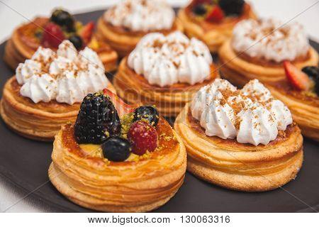 Assorted Danish Pastries. Lemon And Meringue Danish. Berries Danish