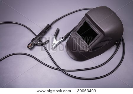 Welding equipment, welding mask, high-voltage wires with clips, set of accessories for arc welding.
