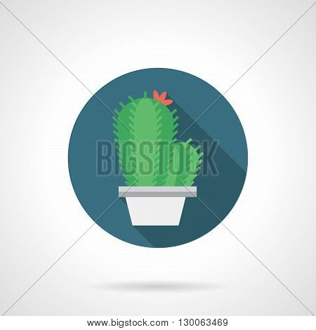 Houseplant in white pot with long shadow. Green cactus with red flower. Exotic flora for interior decoration. Round flat color style vector icon.