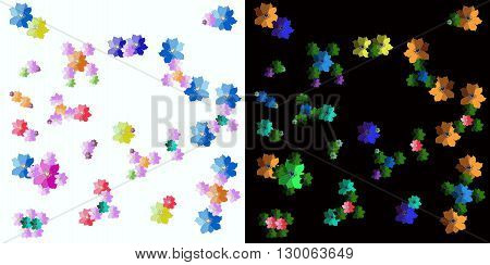 Cheerful fabric with molecules from hand drawn flowers on white and black background. Vector illustration.