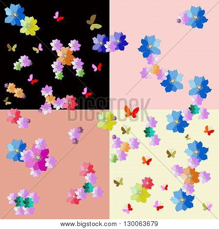 Cheerful fabric with molecules from hand drawn flowers on colorful background. Vector illustration.