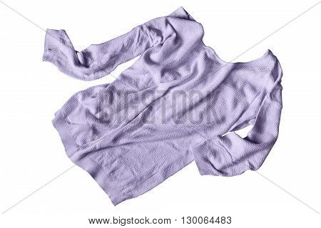 Crumpled knitted purple pullover isolated over white