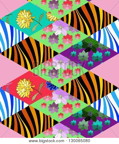Beautiful patchwork seamless pattern from colorful rhombus patches. Vector illustration of quilt.