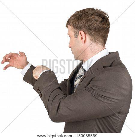 Holding something of hand shape on white background. Businessman catching something.