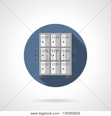 Rows of lockers with long shadow. Storage for things at supermarket, safety and reliability for customers and staff. Round flat color style vector icon.